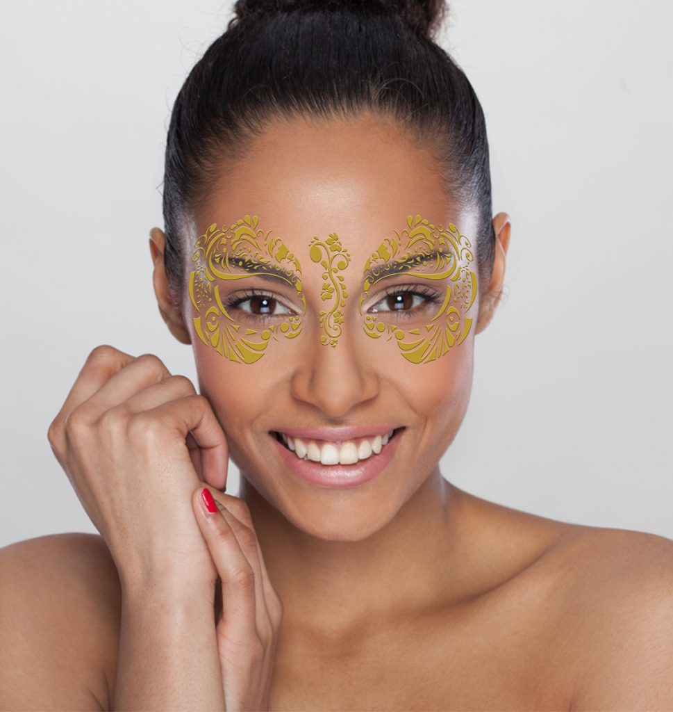Gold foil fake tattoo mask masque rage for Gold foil tattoo