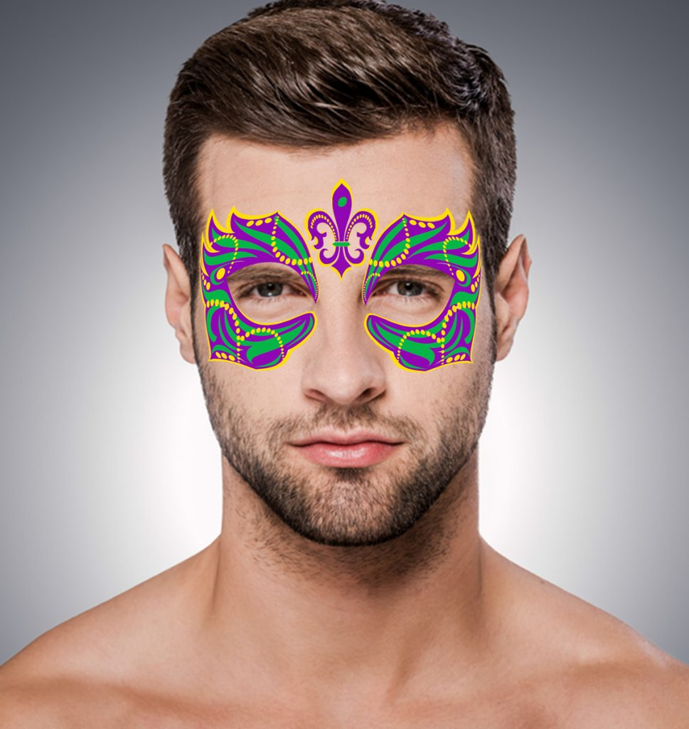 His mardi gras fake tattoo mask masque rage for Mardi gras mask tattoo